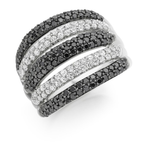 White and black diamond ring