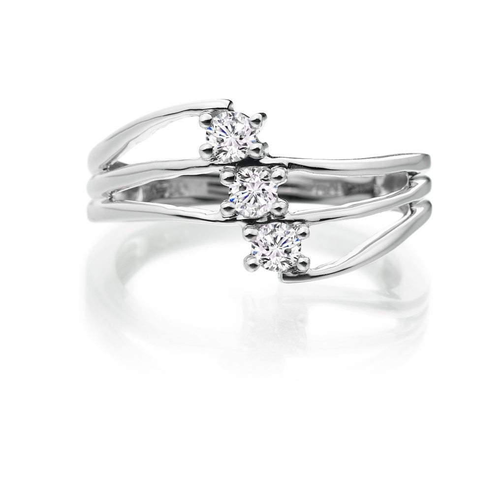 Three stone tri band ring Zoe Jewellery