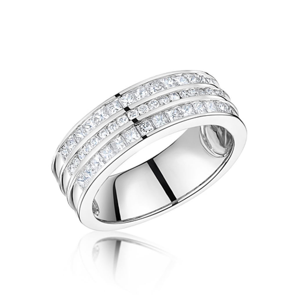 50f3f16e150 Three channel princess cut and round diamond set semi eternity ring ...