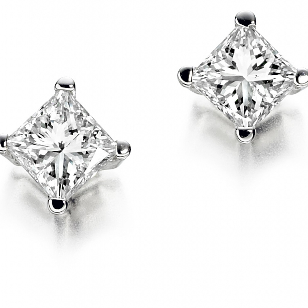 princess cut diamond stud earrings zoe jewellery. Black Bedroom Furniture Sets. Home Design Ideas