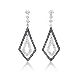 Kite drop earrings with black diamonds