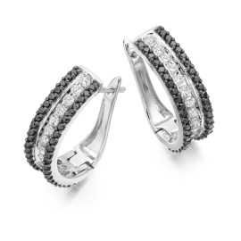 Three row hoop earrings