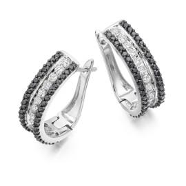 Three row hoop earrings