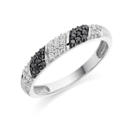 Black diamond set half eternity ring