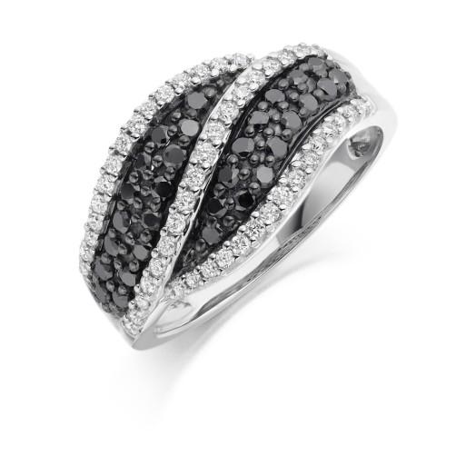 Black diamond set ring