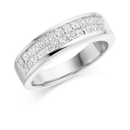 Double row half eternity ring