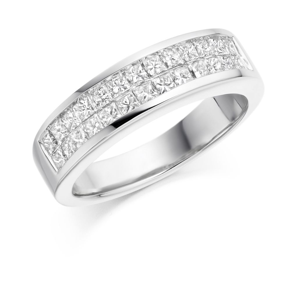 band eternity semi diamond mount ring prong engagement bands memoire platinum and petite product